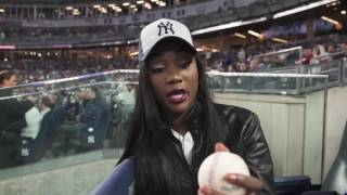 Miss USA 2016 Deshauna Barber Throws First Pitch at Yankees Game